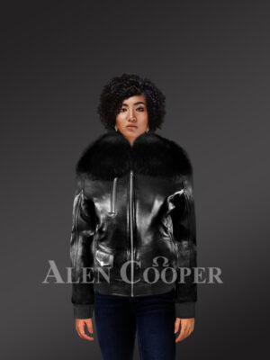 Women's Slim Fir Bomber with Detachable Fox Fur Collar