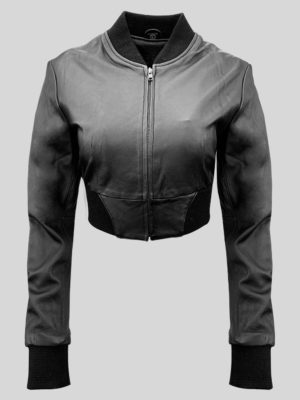 Black real leather moto biker jacket for women