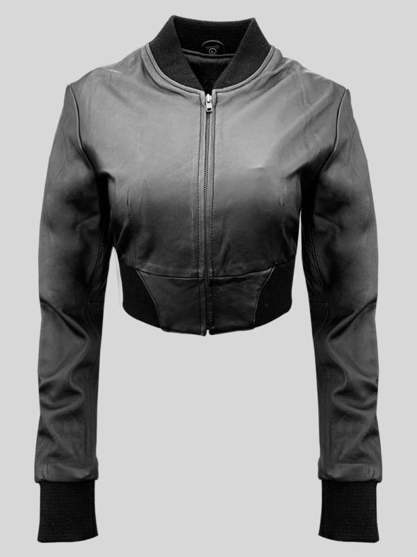 Black real leather moto biker jacket for women