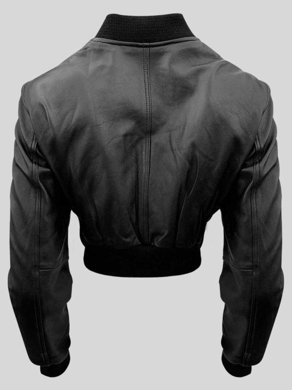 Black real leather moto biker jacket for women backside view