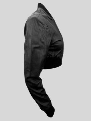 Black real leather moto biker jacket for women side view