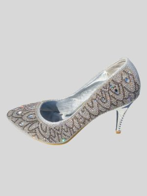 Women's Medium Height Heel Dressy Rhine Stone Shoe in Silver