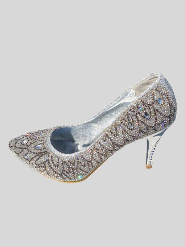 Women's Medium Height Heel Dressy Rhine Stone Shoe in Silver
