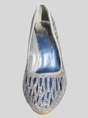 Comfort Dressy Wedge Heel Shoe for Prom in Silver