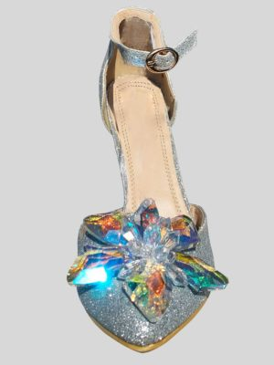 Kitten heel fancy silver dance shoes