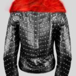 MID-LENGTH METAL STUDDED REAL LEATHER JACKET WITH FUR IN BLACK back side view