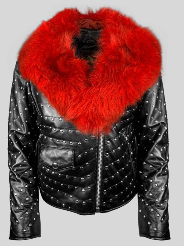 Mid-length metal studded real leather jacket with fur in black
