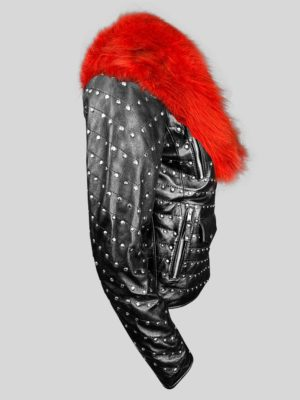 Mid-length metal studded real leather jacket with fur in black Side view