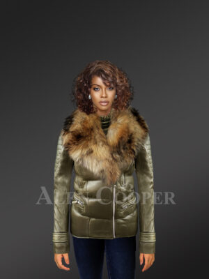 Mid-length puffy leather jacket with detachable raccoon fur collar in Olive new