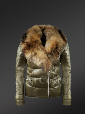 Mid-length puffy leather jacket with detachable raccoon fur collar in Olive new view