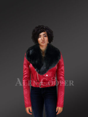 New Detachable real fox fur collar Moto leather jacket in red with Model
