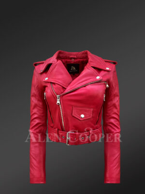 Real leather double-breasted Moto biker jacket for women in Red new