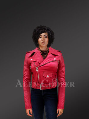 Real leather double-breasted Moto biker jacket for women in Red new with Model