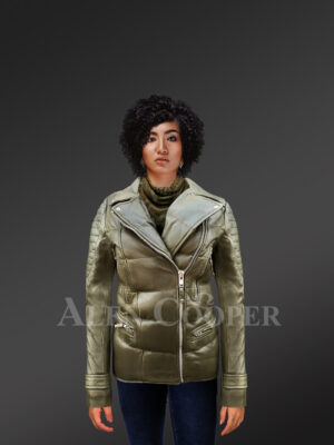 Women's Puffy Motorcycle Jacket in Olive - Alen Cooper