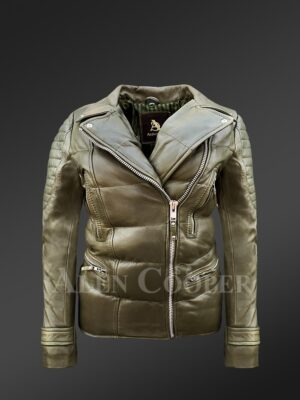 Womens Puffy Motorcycle Jacket in Olive - Alen Cooper
