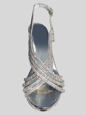 Women's Wedding Shoe with Rhine Stones in Silver