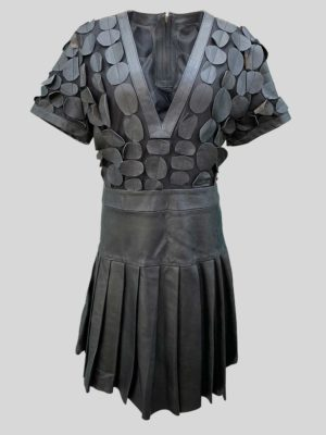 Women's polka leather dress with pleated skirt in black
