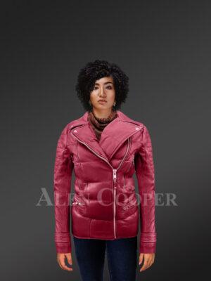 Women's puffy motorcycle jacket in wine - Alen Cooper