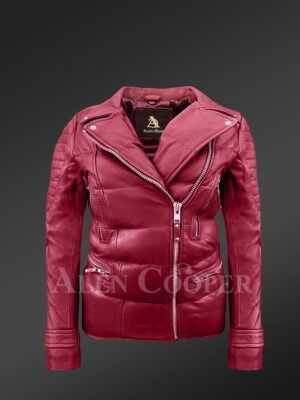 Womens puffy motorcycle jacket in wine - Alen Cooper
