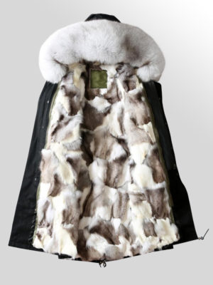 Fox Fur Parka Coat with detachable Fox Fur Trim Hood