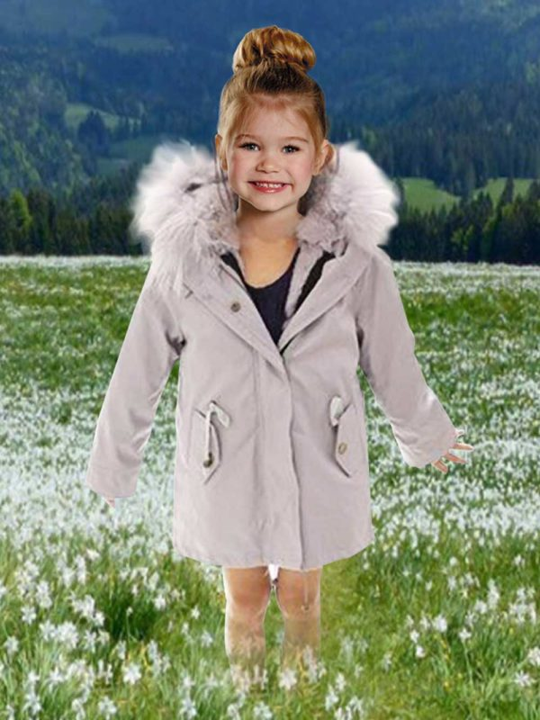 Very stylish kid's parka with fur hood in gray