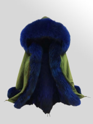 Women's Fox Fur Parka Coat with detachable Fox Fur Trim Hood
