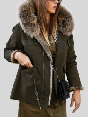Women's black parka with raccoon fur hood and rabbit fur lining