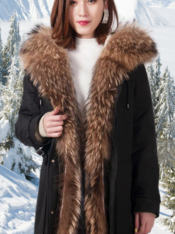 Women's elegant brown parka with soft raccoon fur hood and long collar
