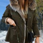 Women black parka with raccoon fur hood and rabbit fur lining