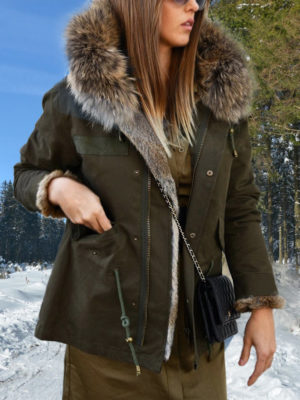 Women black parka with raccoon fur hood and rabbit fur lining