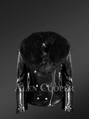 Women's Motorcycle Biker Jacket with Detachable Fox Fur Collar And Piped Sleeves in Black new