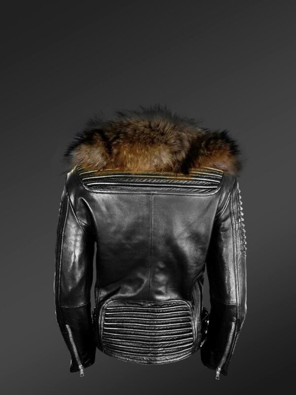 Women's Motorcycle Biker Jacket with Detachable Raccoon Fur Collar and Piped Sleeves in Black Back views