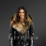Women's Motorcycle Biker Jacket with Detachable Raccoon Fur Collar and Piped Sleeves in Black new view