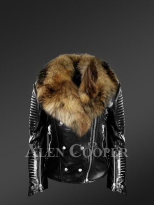Women's Motorcycle Biker Jacket with Detachable Raccoon Fur Collar and Piped Sleeves in Black new views