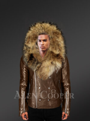 Men's coffee biker leather jacket with detachable raccoon fur collar and zippered fur hood with Model new