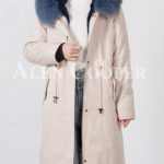 Beautiful long warm winter parka with fur hood for women