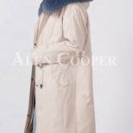 Beautiful long warm winter parka with fur hood for women Side view