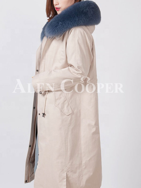 Beautiful long warm winter parka with fur hood for women Side view