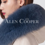 Beautiful long warm winter parka with fur hood for women close view