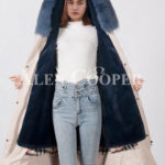 Beautiful long warm winter parka with fur hood for womens