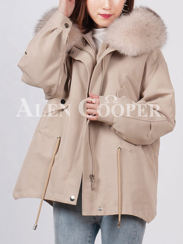 Casual warm winter ladies parka with fox fur collar