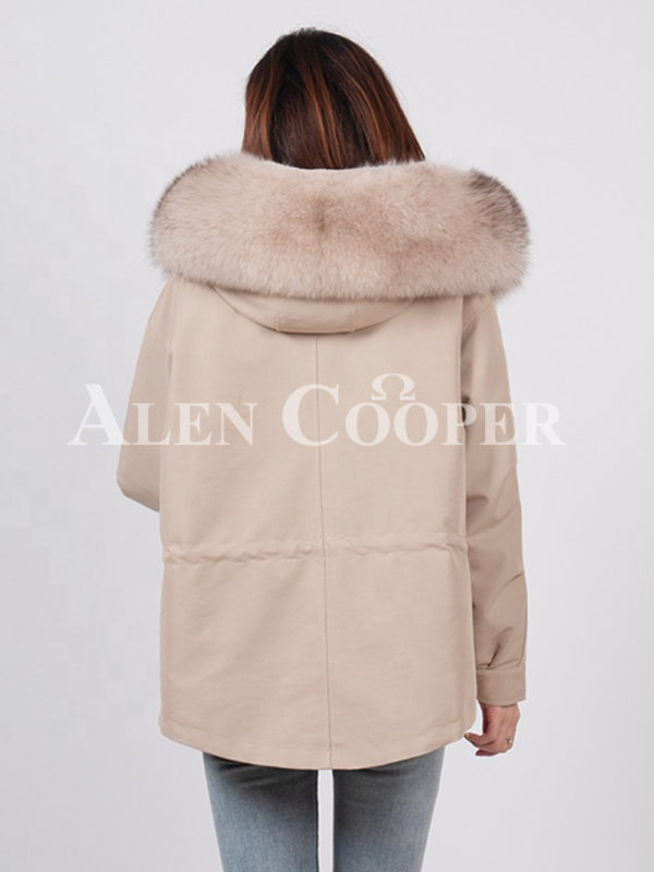 Casual warm winter ladies parka with fox fur collar back side view