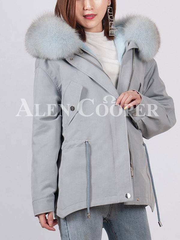 Casual warm winter ladies parka with fox fur collar gray