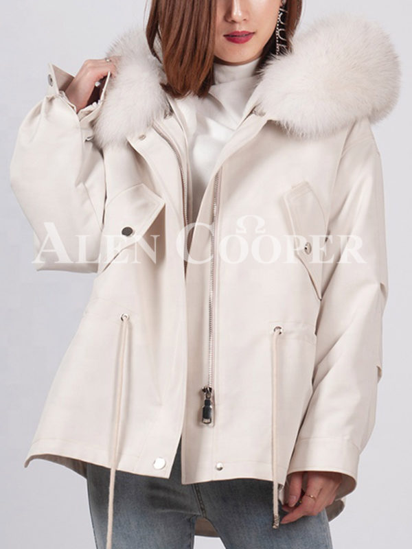 Casual warm winter ladies parka with fox fur collar white