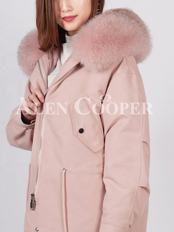 Casual warm winter ladies parka with fox fur collar white pink