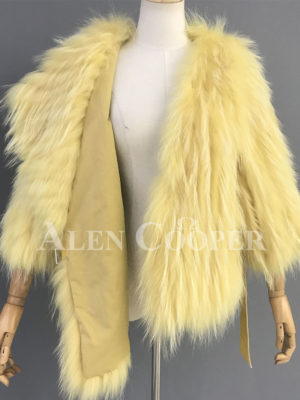 Double sided real raccoon fur winter wrap for women