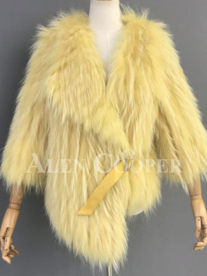 Double sided real raccoon fur winter wrap for women sideview