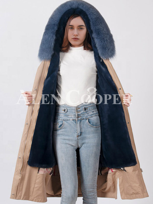 European styled long winter parka with real fur voluminous hood