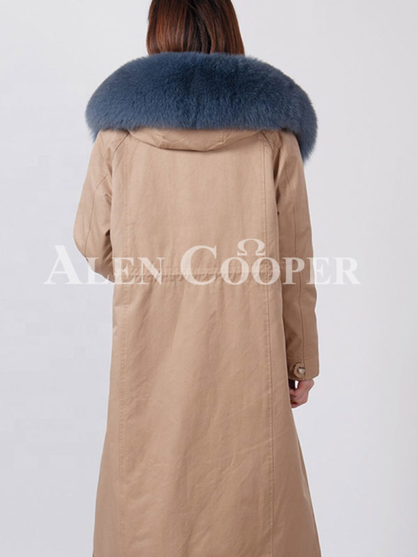 European styled long winter parka with real fur voluminous hood bacxk side view