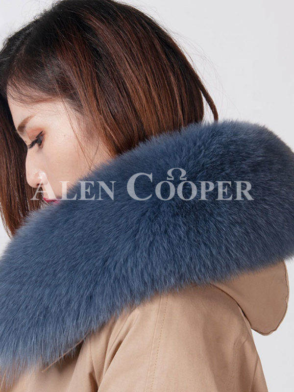 European styled long winter parka with real fur voluminous hood close view